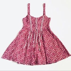 Free People Tea Combo Floral Dress Hot Pink
